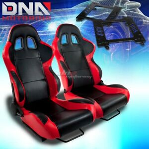 For 93 02 Camaro Trans Am Adapter Type 4 Black Red Woven Reclinable Racing Seats