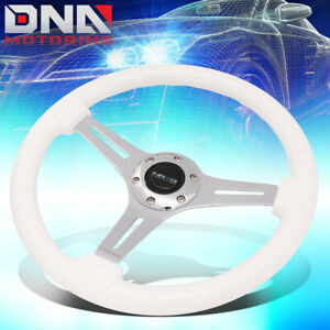 Nrg St 015ch Wt 350mm White Wood Handle Chrome 2 Deep Dish Spoke Steering Wheel