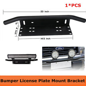 23 Bull Bar Front Bumper License Plate Mount Bracket Offroad Led Light Holder