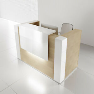 Mdd Tera 65 Canadian Oak Reception Desk With Lighting Panel