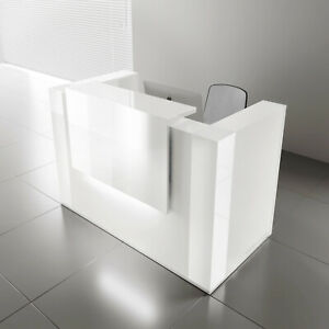 Mdd Tera 96 White Pastel Reception Desk With Lighting Panel