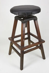 Vintage Industrial Tall Stool Steampunk Adjustable Height Seat Square Wood Frame