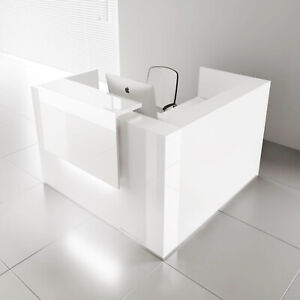 Mdd Tera 65 L Shape White Pastel Reception Desk With Lighting Panel