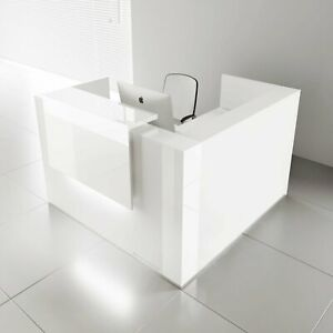 Mdd Tera 73 L Shape White Pastel Reception Desk With Lighting Panel