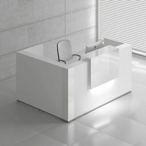 Mdd Tera 81 L Shape White Pastel Reception Desk With Lighting Panel