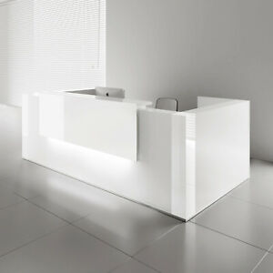 Mdd Tera 128 White Pastel Reception Desk With Lighting Panel