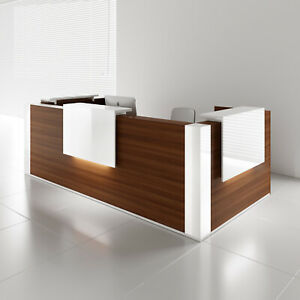 Mdd Tera 132 Lowland Nut Reception Desk With Lighting Panel White Pastel