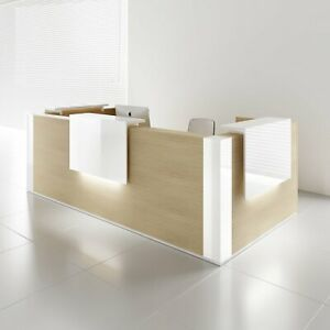 Mdd Tera 179 Canadian Oak Reception Desk With Lighting Panel White Pastel