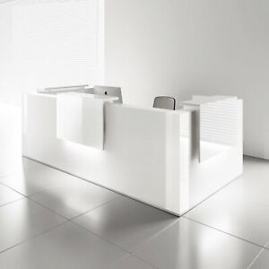 Mdd Tera 179 White Pastel Reception Desk With Lighting Panel White Pastel