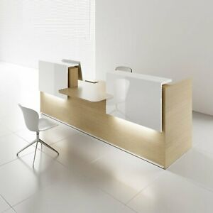Mdd Tera 136 Canadian Oak Reception Desk With Lighting Panel White Pastel