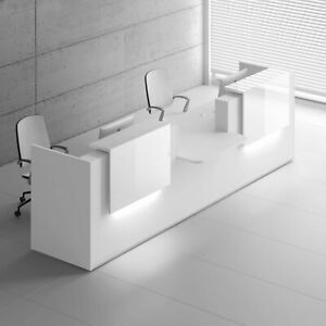 Mdd Tera 151 White Pastel Reception Desk With Lighting Panel