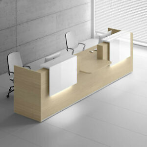 Mdd Tera 151 Canadian Oak Reception Desk With Lighting Panel