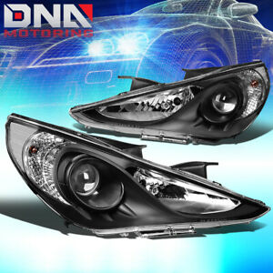 For 2011 2014 Hyundai Sonata Black Clear Side Projector Headlight Replacement