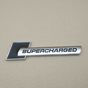 Car Emblem Metal Black With Silver Supercharged Logo Badge Turbo Sticker Decal