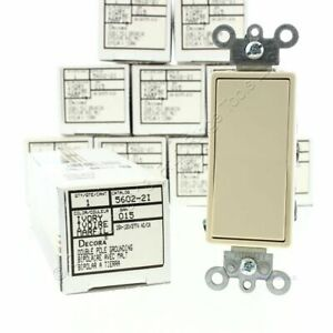 10 Leviton Ivory Double Pole Decora Rocker Light Switches 15a 120 277vac 5602 2i