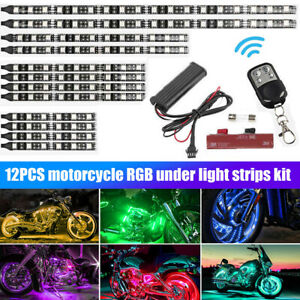 15 Colors 12 Rgb Led Motorcycle Underbody System Under Glow Neon Strip Light Kit