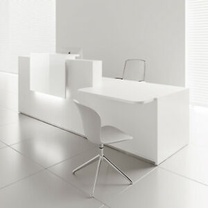 Mdd Tera 120 Right White Pastel Reception Desk With Lighting Panel
