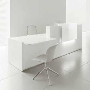 Mdd Tera 136 Left White Pastel Reception Desk With Lighting Panel