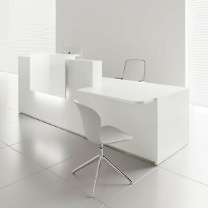 Mdd Tera 136 Right White Pastel Reception Desk With Lighting Panel