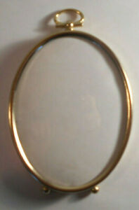 Small 5 Vtg Brass Metal Oval Convex Bubble Glass Picture Frame Hangs Hanging