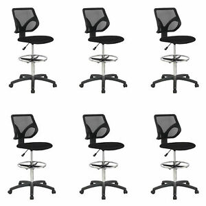 Cool Living Mesh Fixed Upright Adjustable Height Drafting Chair Black 6 Pack