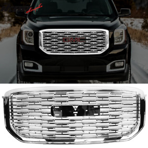 Fits 15 19 Gmc Yukon Denali Style Front Upper Grille Replacement Chrome Abs