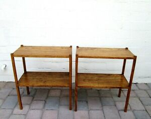 Vintage Pair Of Tiered Oak Wood Bookcase Side Tables End Tbles