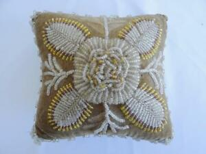 Antique Victorian Large Beadwork Pin Cushion Beige Velvet Flower Beaded C1880