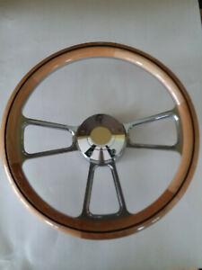 Steering Wheel Alder Wood 1 2 Wrap 14 W Adapter Horn 69 93 Oldsmobile All