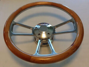 Steering Wheel Alder Wood 1 2 Wrap 14 W Adapter Horn 74 94 Chevy C10 C20 C30