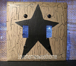 Primitive Crackle Tan Black Star Double Switch Plate Country Decor