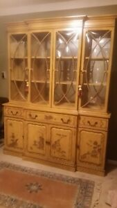 Asian Chinoiserie Lacquered Yellow Gold Painted China Cabinet Chinoiserie