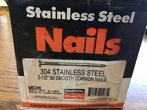 8d 2 1 2 304 Stainless Steel Smooth Common Nails 5 lbs Swan Secure