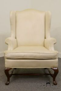 Hickory Chair Upholstered Mahogany Wing Back Chair W Amber Finish 1806