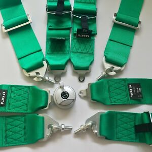 Universal New Green 4 Point Camlock Quick Release Racing Car Seat Belt Harness