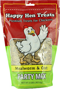Happy Hen Treats Party Mix Mealworm And Oats 2 pound pack Of 4