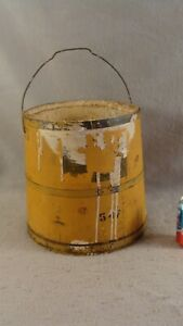 Antique 19c Yellow Painted Wooden Bail Handle Bucket