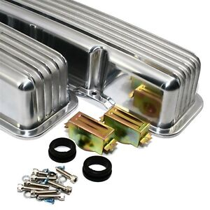 Polished Aluminum Valve Covers Tall Retro Finned Sbc Chevy 327 350 400 Nostalgia
