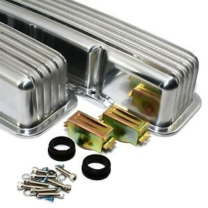 Polished Aluminum Valve Covers Stock Retro Finned Sbc Chevy 327 350 400 Nostalgi