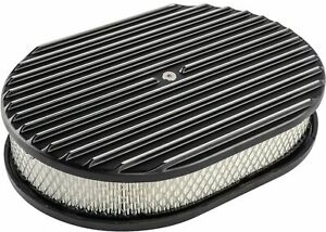 Finned Aluminum Air Cleaner Oval 12 L X 8 3 8 W X 3 H Black Chevy Ford Retro