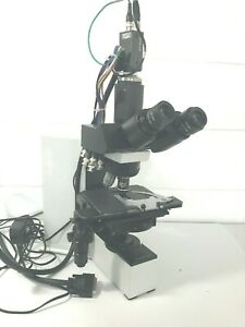 Olympus Bx40 Pathology Lab Microscope Hitachi Camera 3 Objectives No Cord As is