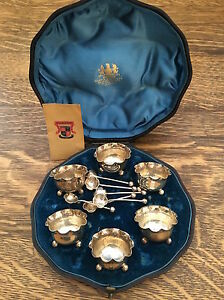 Mappin Brothers 1893 1894 Victorian Sterling Silver Boxed Salt Cellar