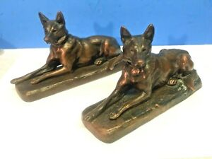Antique Jennings Brothers Jb German Shepherd Dog Art Sculpture Statue Bookend