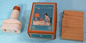 1916 Antique General Electric Twin Outlet Plug In Original Box