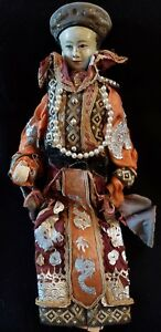 Antique Hand Made Painted Asian Hand Puppet Doll Ornate Costume Beautiful Face
