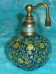 Signed Antique Moser Atomizer Perfume Or Cologne Bottle W Turquoise Shade