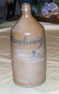 Antique Stoneware Bottle Jug Blue Slip Writing L Henkonig German