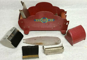 Vintage Packer 3s Manual Tape Dispenser Red Hammer Finish W Brush divider Plate