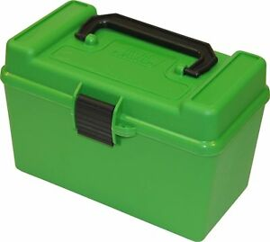 MTM H50-MAG-10 Deluxe 50-Round Rifle Ammo Case Box 300 264 338 win 7mm Green