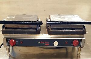 Used 24 Double Duel 2 Grooved Lang Pane Bella Commercial Panini Press Pbf24gg